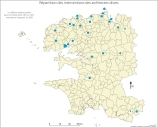 Carte de répartition des interventions des architectes divers