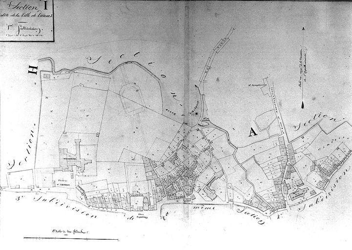 Plan cadastral 1809. Section I1: ville , quartiers nord. AM Vannes 21Fi.